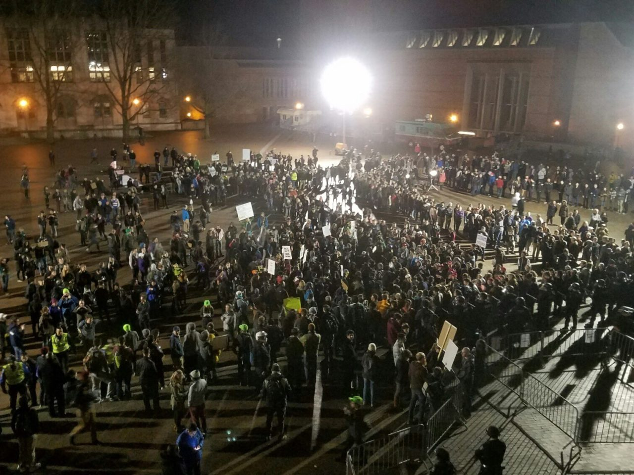 Anarchists and fascists clash at UW's Kane Hall.