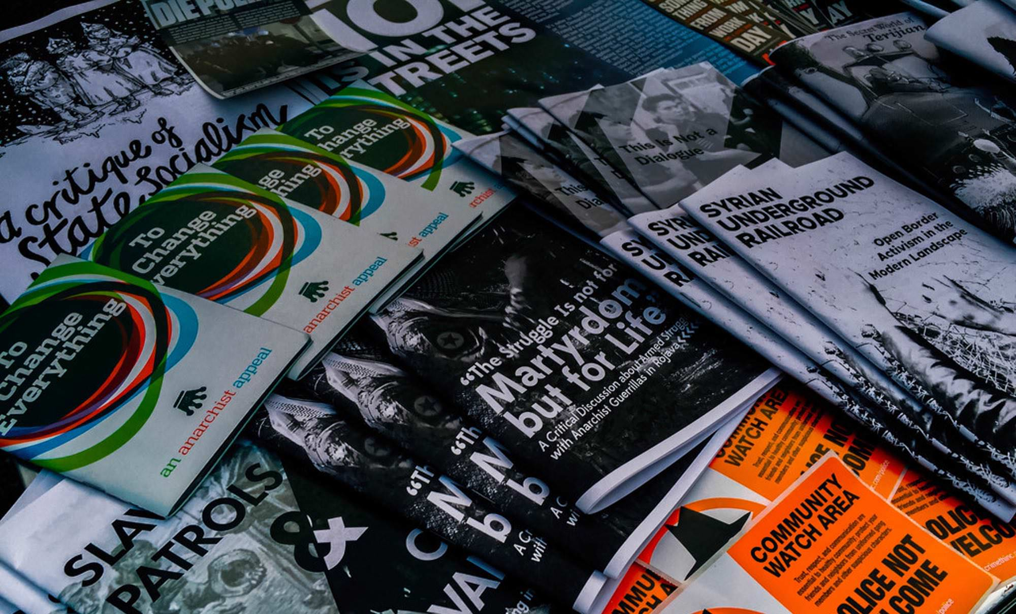 Zines posters and stickers