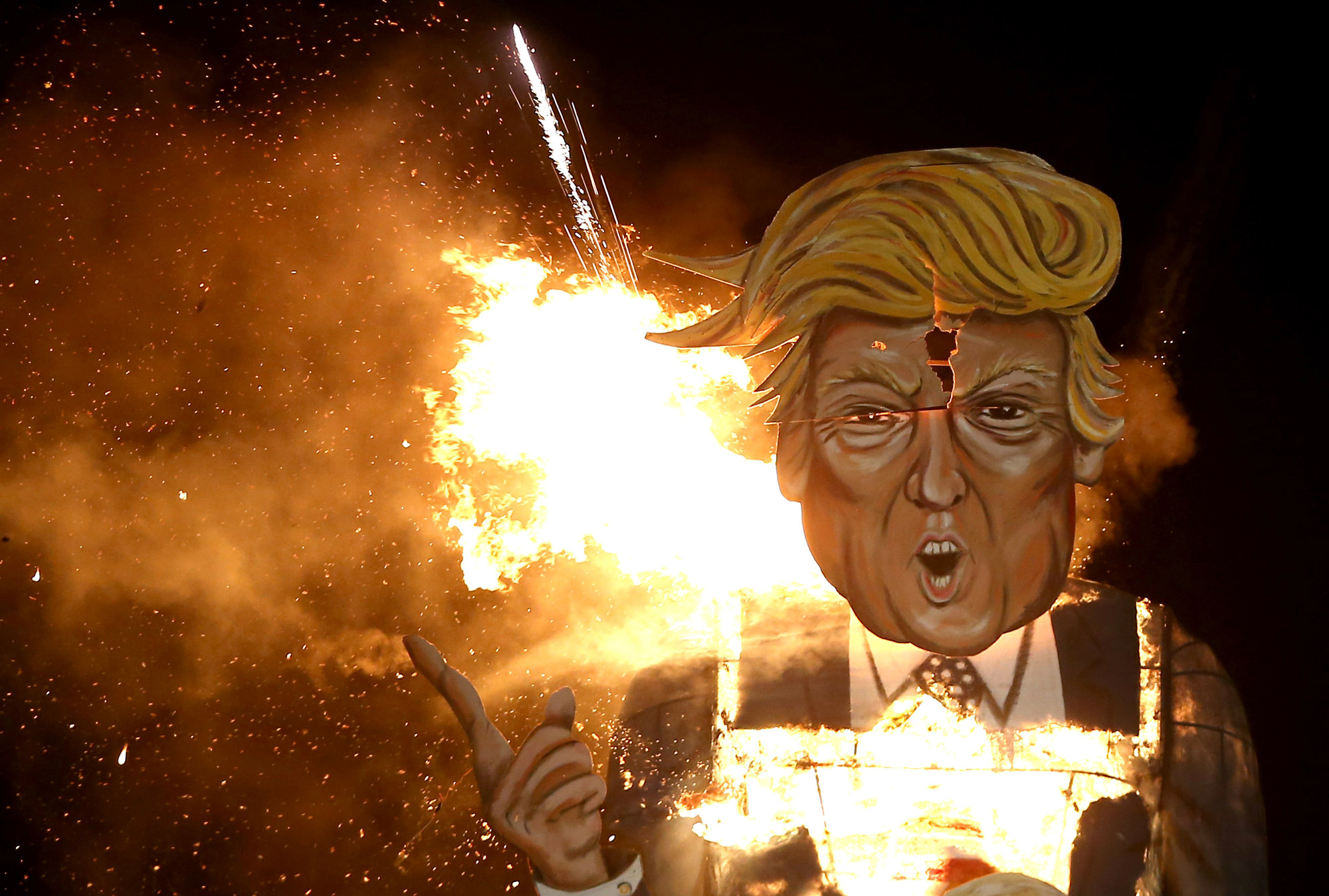 A burning effigy of Donald Trump.