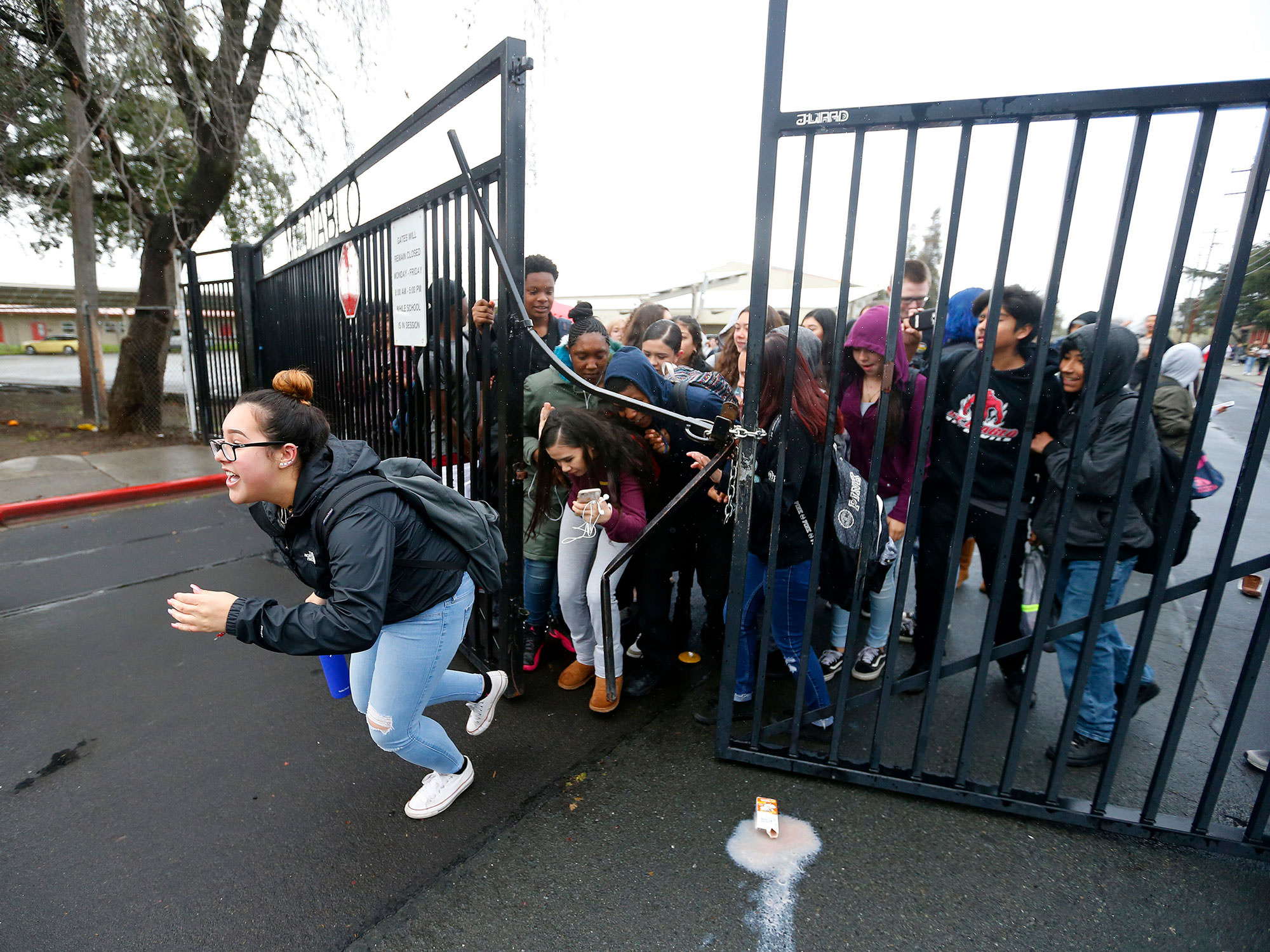 Students at Concord's Mt. Diablo High break through gate in gun protest.